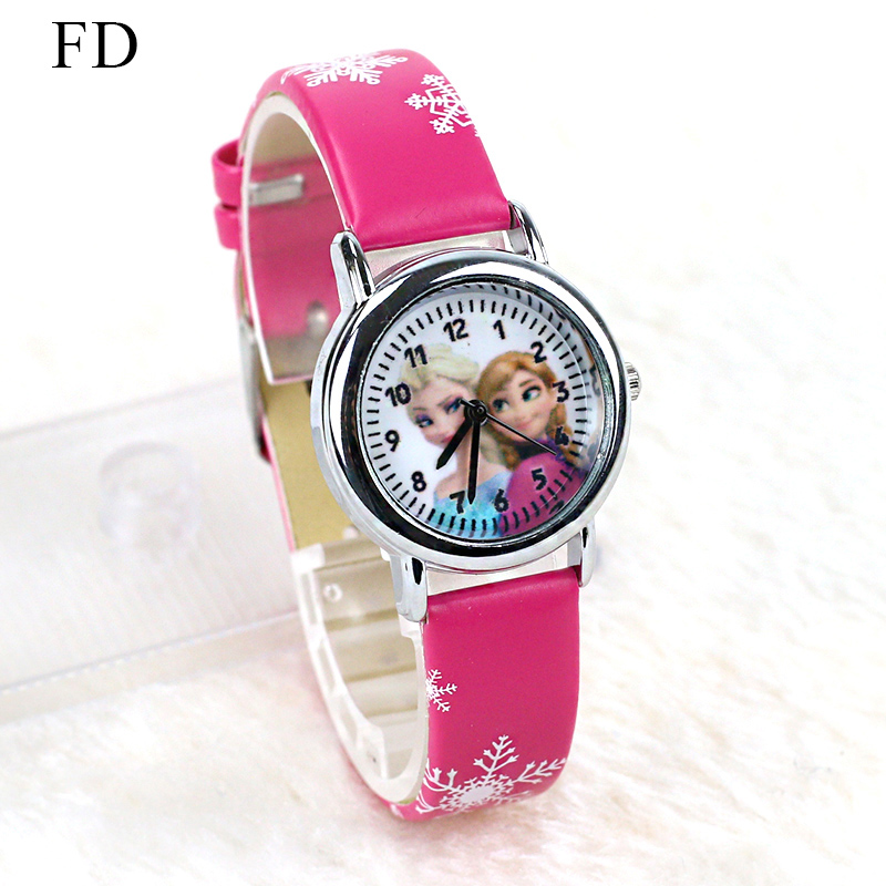 FD Hot Cartoon Princess Elsa Mönster Barn Klocka Mode Högkvalitativ Leather Strap Armbandsur Casual Girls Boys Kids Clock