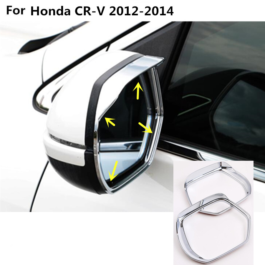 Car abs chrome rear rearview side glass mirror trim frame rain shield sun visor shade 2pcs