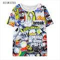Hiawatha Letters Printed T-shirts Women Harajuku Character Digital Printing T shirts Camisa Feminina Short Sleeve Tops T2123