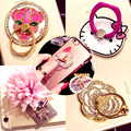 Monchichi Sleutelhanger Key Chains Cute Inlay Crystal Doll Pendant Fur Pom Pom PU Leather Metal Keychain Keyring Holder Key Ring