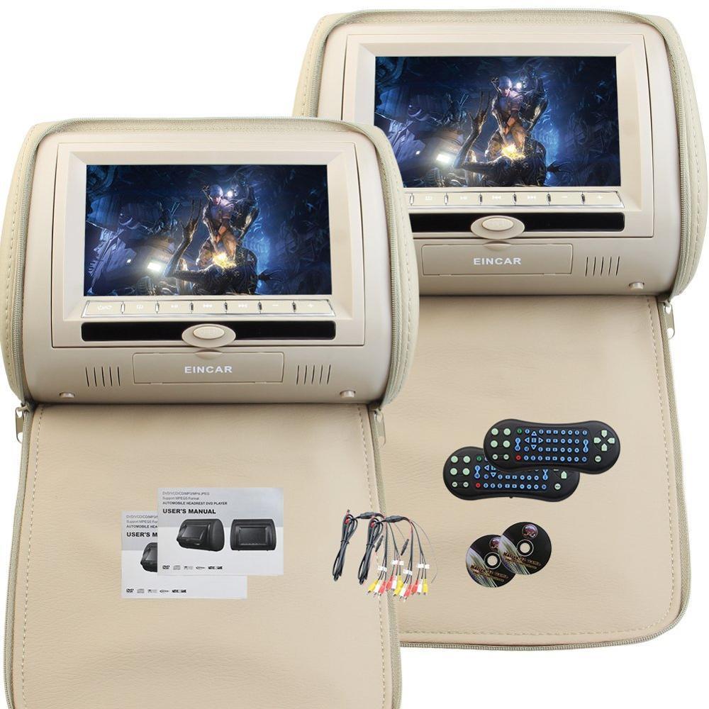 7-дюймовый широкоэкранный подголовник видео плеер двойной экран DVD-плеер автомобиля беспроводной пульт дистанционного управления 32-битных игр(Заголовника автомобиля с бежевым)