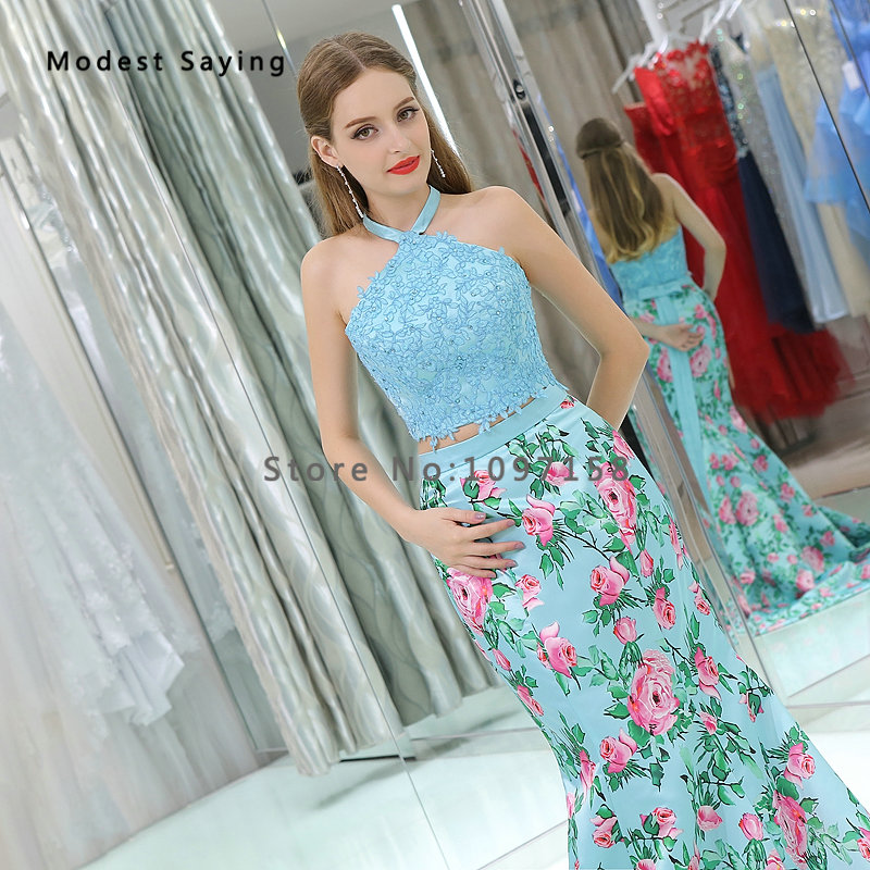 Elegant Light Blue Mermaid Floral Printed 2 Piece Beaded Lace Prom Dresses  2017 Formal Party Prom Gowns vestido de festa B010-in Prom Dresses from  Weddings ... 849eacd3b