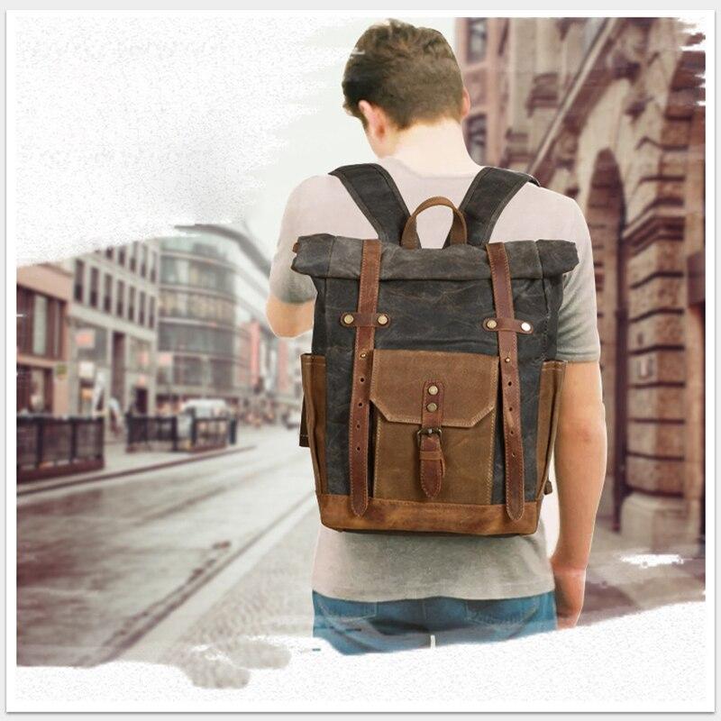 Мужской рюкзак, рюкзак для ноутбука, большой повседневный брезентовый винтажный рюкзак Crazy Horse из кожи, винтажный Прочный Мужской рюкзак для путешествий, мужская сумка - 6
