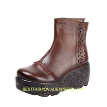 autumn and winter thick leather boots top layer leather short tube hollow carved wedge with women's boots  boots women