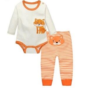 Комплект одежды из 2 предметов для маленьких мальчиков и девочек, комбинезон с длинными рукавами и штаны Roupa Infantil Menina Menino Bebe, Одежда для новорожденных, Китай, KF092