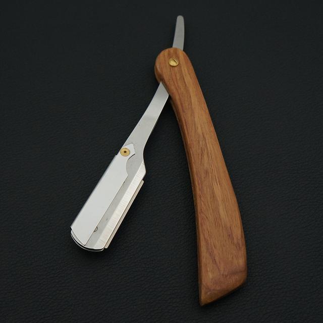 Solid wood handle barber hair cut razor shaving razor, professional barber Hair knifes razors change blade type knife