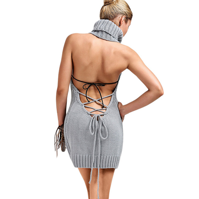 4894a0156dd Gamiss 2017 Autumn Women Sexy Lace Up Mini Dresses Turtleneck Backless  Cable Knit Sleeveless Jumper Dress Spring Dress Vestidos