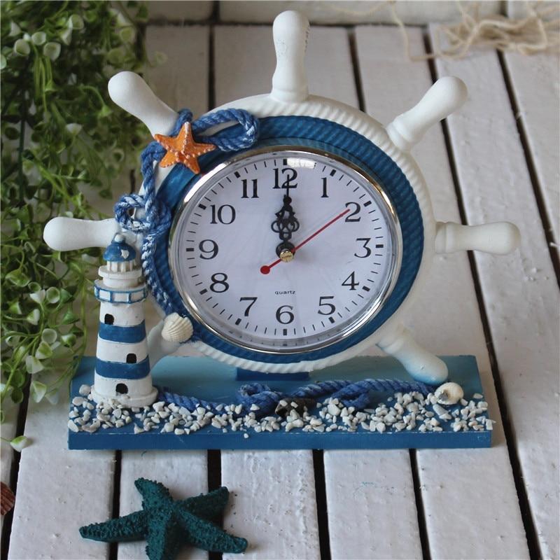 Mediterranean Style Home Electronic Desk Clock Rudder Bedroom Home  Decoration Table Clock Vintage Desktop Clock Horloge Murale In Desk U0026 Table  Clocks From ...