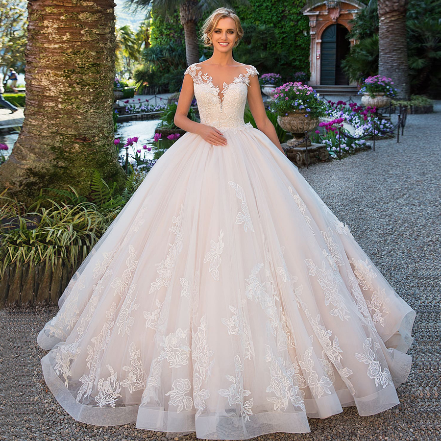 2019 Vestido De Noiva Ball Gown Wedding Dress Elegant Princess Cap Sleeve Applique Lace Bride Dress Bridal Gown Robe De Mariee