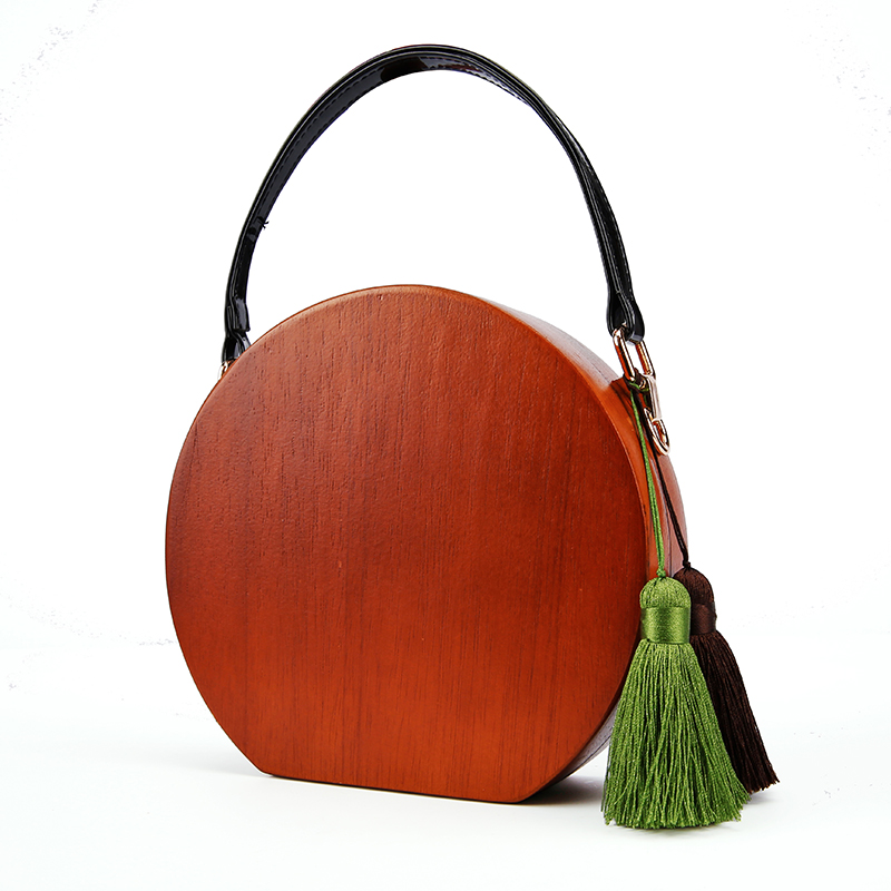 Round Shape Wood Bags With PU leather Handles Handmade Wood Bags With Tassel Lady Fashion Wooden Evening Handbags Wood Totes sara wood scarlet lady