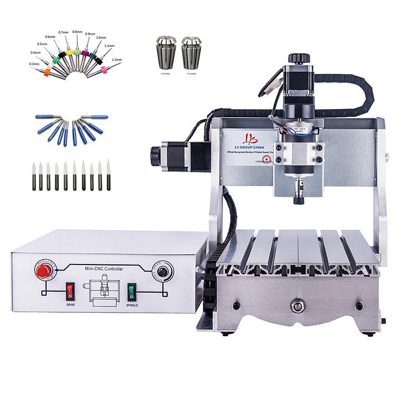 3 eixo pequeno router CNC 300 w máquina de gravura do CNC 3020 DC potência do motor do eixo router gravador de perfuração