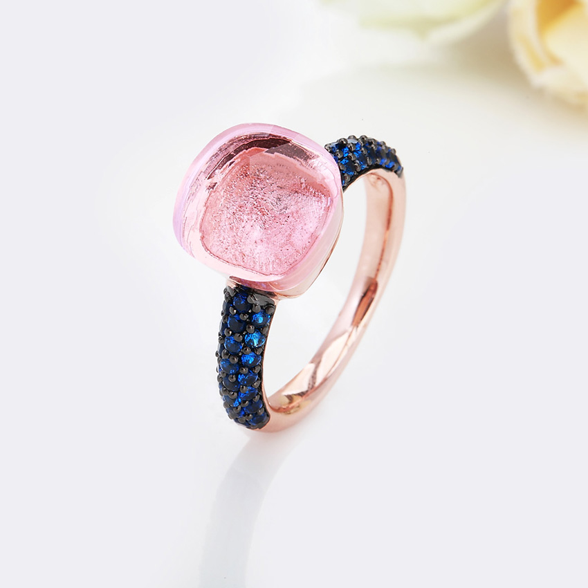 FORIS Rose Gold Color With Black Plated Blue Zircon Wedding Rings for Women Girls Austrian Crystal Bague Femme 14 Colors