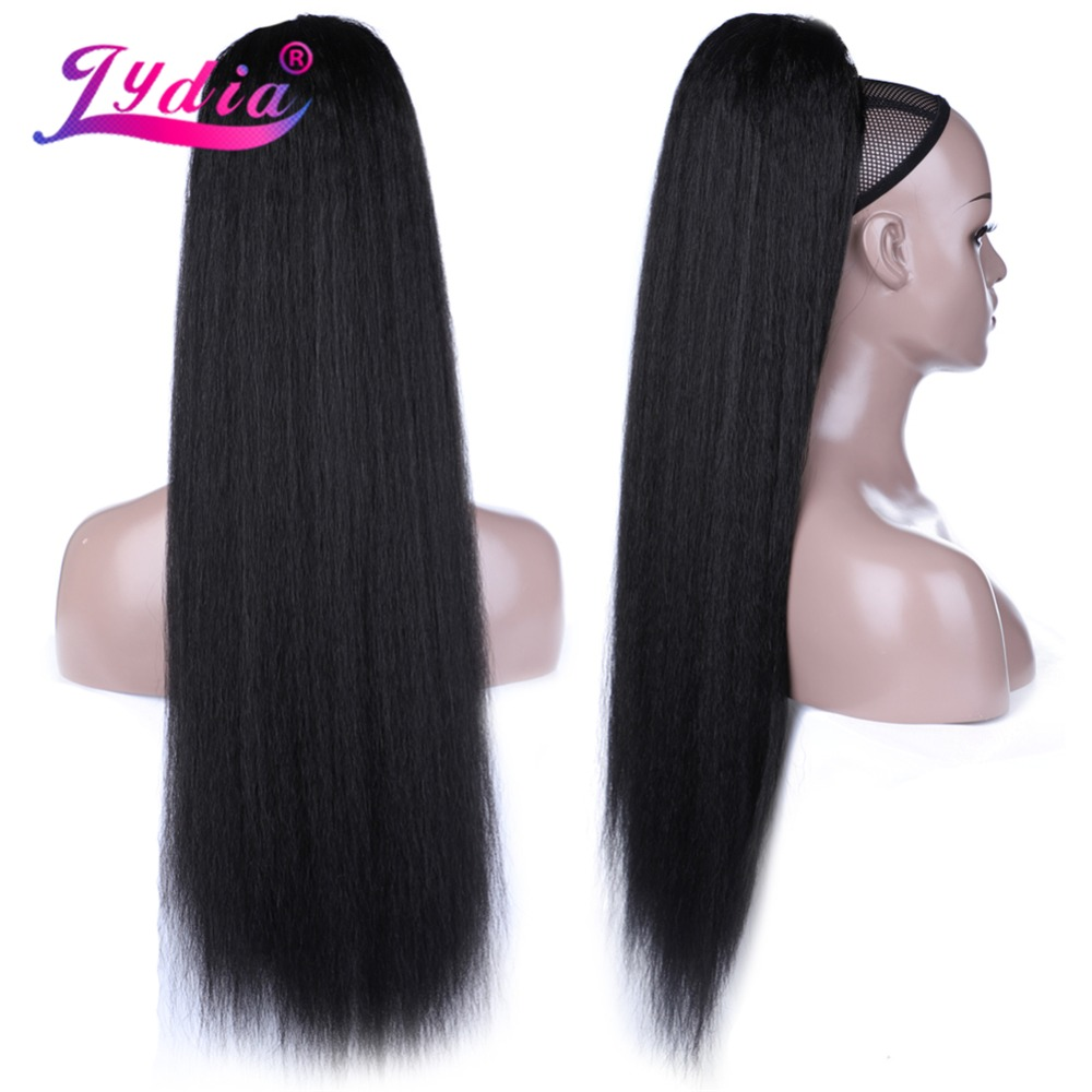 HTB1Mr2ncaSs3KVjSZPiq6AsiVXa7 - Lydia Heat Resistant Synthetic 30 Inch Kinky Straight Hair With Two Plastic Combs Ponytail Extensions All Colors Available