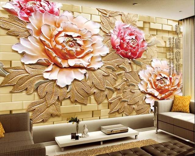 Beibehang Custom Wallpaper Large Relief HD Fancy Peony Flower Brick Wall  Relief TV Wall Background 3d