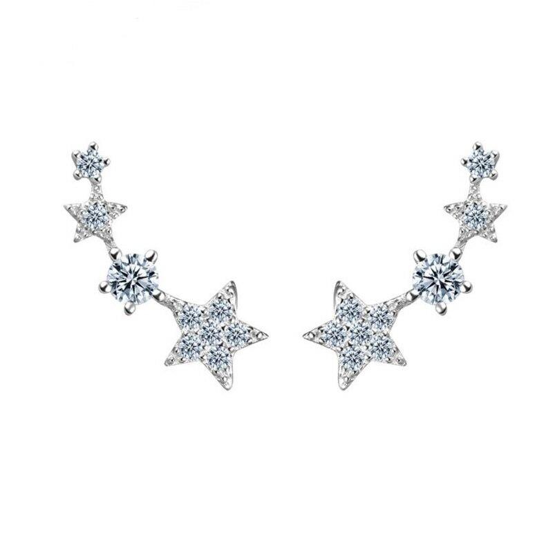 Stříbrné náušnice ve tvaru hvězdy 100% skutečné stříbrné náušnice 925 Sterling pro ženy YH4820