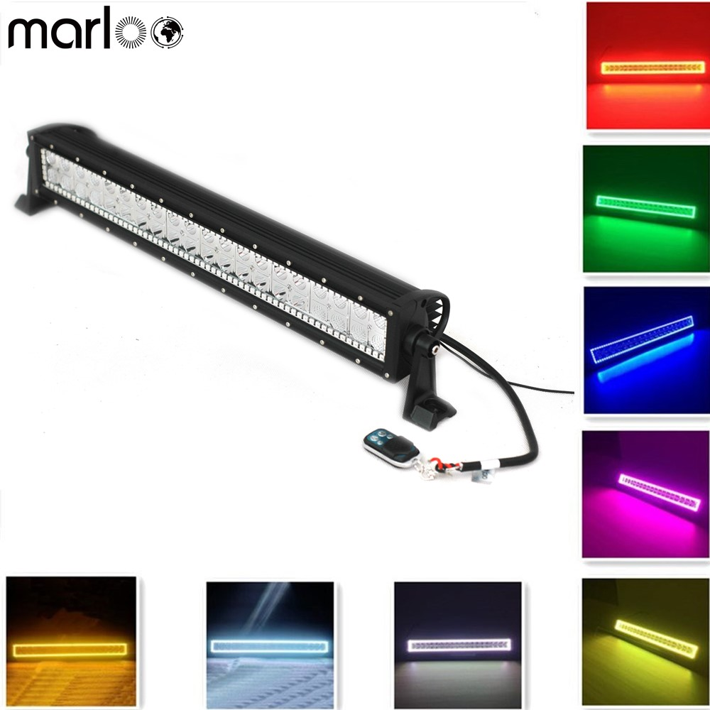 Marloo 20 22 Inch 120w Straight Led Light Bar RGB Led Bar Driving Led Lights with Remote For Jeep, Off-road Vehicle, 4WD, SUV marloo high quality 5d multi color rgb led light bar 22inch 120w light bluetooth app control for off road jeep trucks suv boat