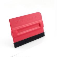 Red Magnetic Scraper 7*10cm Vinyl Applicators Magnet Bondo Squeegee With Felt Edge MO-140F