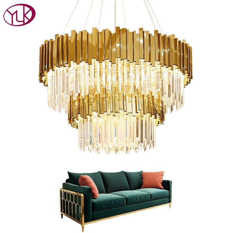Youlaike Luxo Moderno Lustre De Cristal Camadas Duplas de Ouro Pendurado Luminárias Sala Foyer Lustres De Cristal LEVARAM