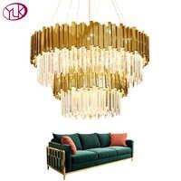 Youlaike luxo moderno lustre de cristal dupla camadas ouro pendurado luminárias sala estar foyer led lustres cristal