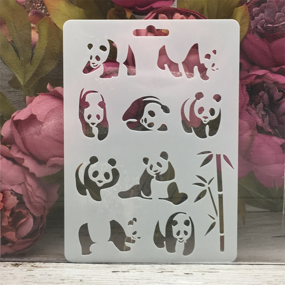 1Pcs 17.8*12.7cm Panda Bamboo DIY Layering Stencils Wall Painting Scrapbook Coloring Embossing Album Decorative Template