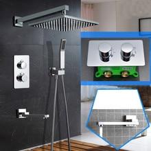 Ультратонкая насадка для душа, настенная, 10 дюймов, термостатический набор для душа, 3 сторонняя ванная комната, Скрытая установка, набор для душа SS097