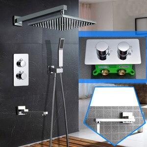 Image 1 - Ультратонкая насадка для душа, настенная, 10 дюймов, термостатический набор для душа, 3 сторонняя ванная комната, Скрытая установка, набор для душа SS097