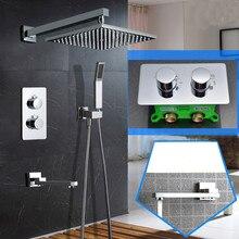 A parete 10 pollici Ultra Sottile Soffione doccia Termostatico Doccia Set 3 Way Bagno A Scomparsa Installare Doccia Set SS097