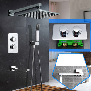Image 1 - wall Mounted 10 inch Ultra Thin Shower Head Thermostatic Shower Set 3 Way Bathroom Concealed Install Shower Set SS097