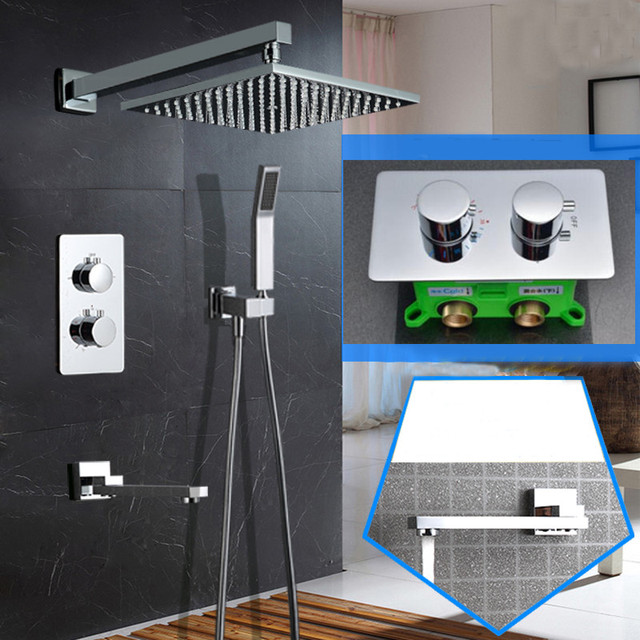 wall Mounted 10 inch Ultra Thin Shower Head Thermostatic Shower Set 3 Way Bathroom Concealed Install Shower Set SS097
