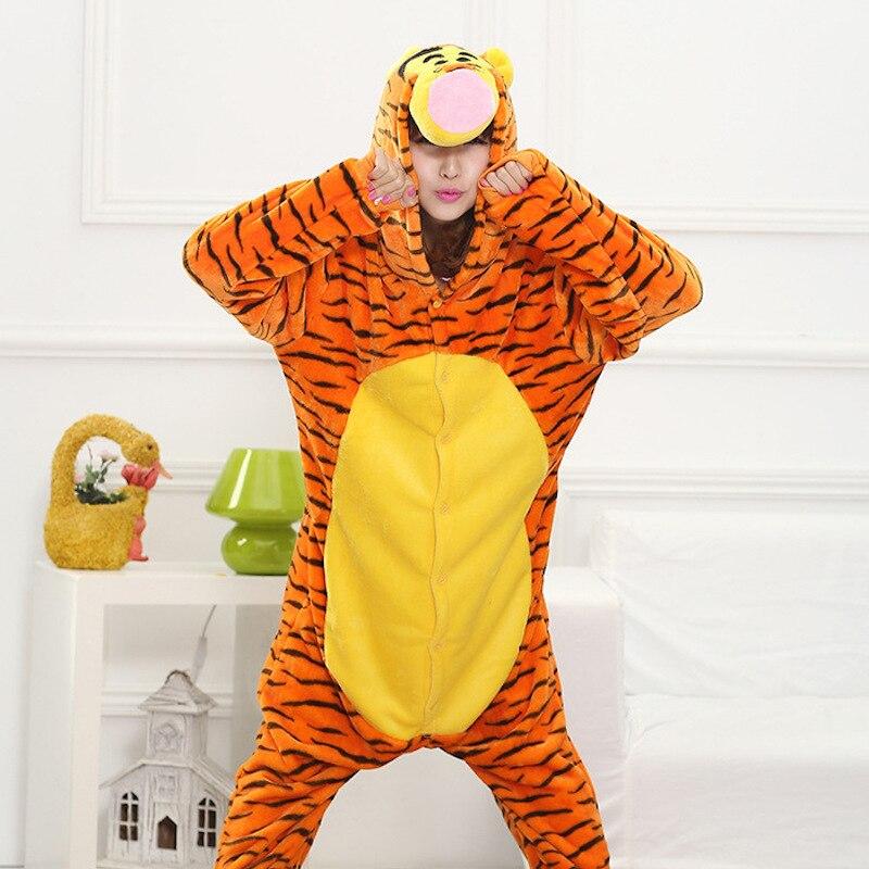 Cute 3D Tiger animal Pajamas unisex flannel hood Pyjamas adults clothes anime party Onesies sleepwear rompers cosplay costume
