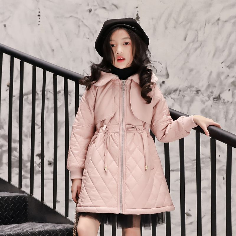 Girls wear leather jacket 2018 winter new foreign girl pu leather thick coat hooded long coat faux twinset rib splicing hooded long sleeve slimming modish pu leather jacket for men