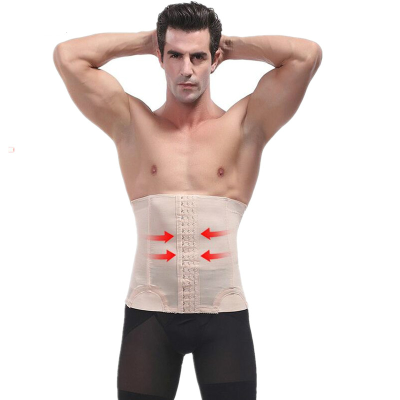 Male Waist Trainer Steel Bone Vest Body Shaper Tummy Tuck Belt Weight Loss Corset Belly Reducer Stomach Belt Hot Shapers Girdle