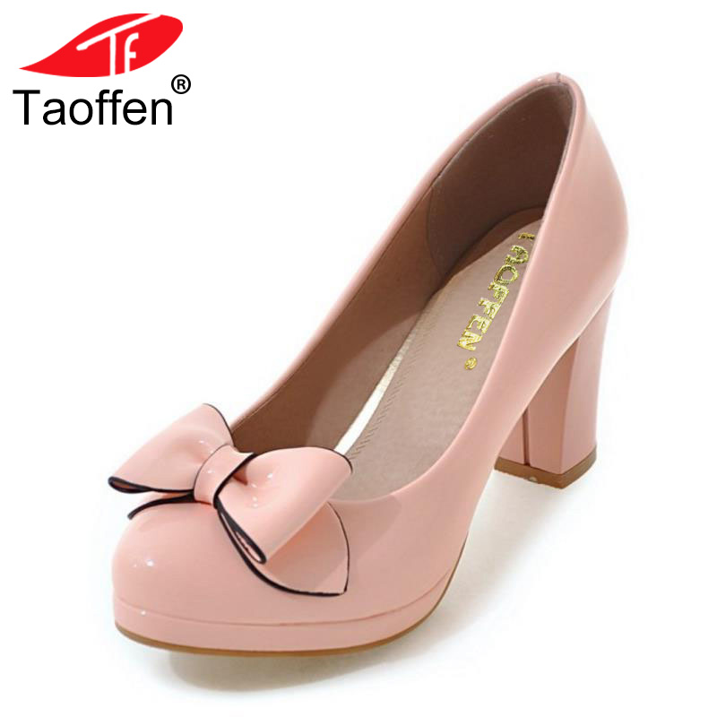 TAOFFEN Size 31-43 Ladies Slip On High Heels Shoes Women Bowknot Thick Heel Pumps Women'S Fashion Platfrom Office Party Footwear
