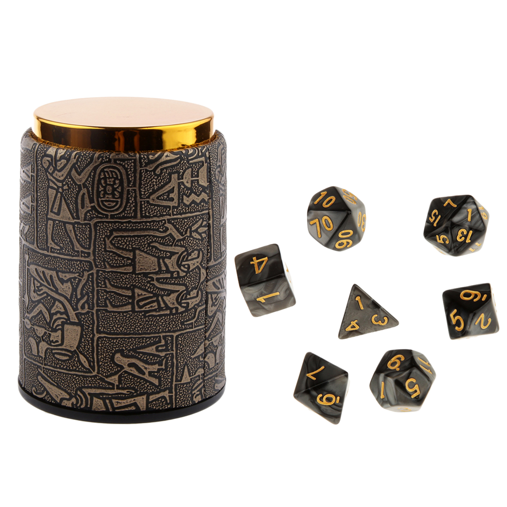 7pcs Polyhedral Dice For Dungeons And Dragons DND Dados RPG MTG Board Game D20 D12 D10 D8 D6 D4 Mixed Color Dice Set & Dice Cup