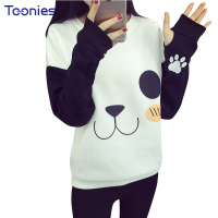 Autumn New Korean Style Harajuku Kawaii Hoodies Sweatshirt Women Cute Cartoon Panda Hoodie Pullover Sweatshirts Moletom