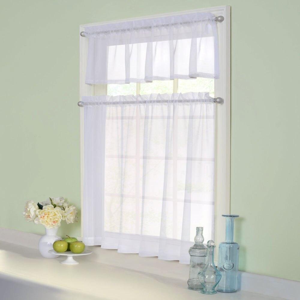 Kitchen Curtains Valances Rod Pocket Decorative Elegant White Cafe Kitchen  Tulle Short Sheer Voile Window Curtain (One Pair)