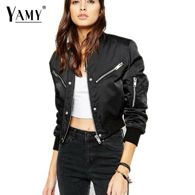 New Arrival 2016 Women High Waist Padded Bomber Jacket Stand Collar Oblique  Zipper Slim Coat Females