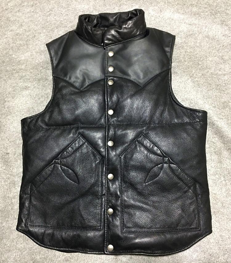 Livraison shipping.2017 mode chaud classiques Marque qualité slim en peau de mouton gilet, véritable en cuir blanc duvet de canard veste