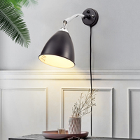 Nordic Designer Modern Simple American Pure Copper Retro Living Room Bedside LED Swing Bedroom Wall Lamp