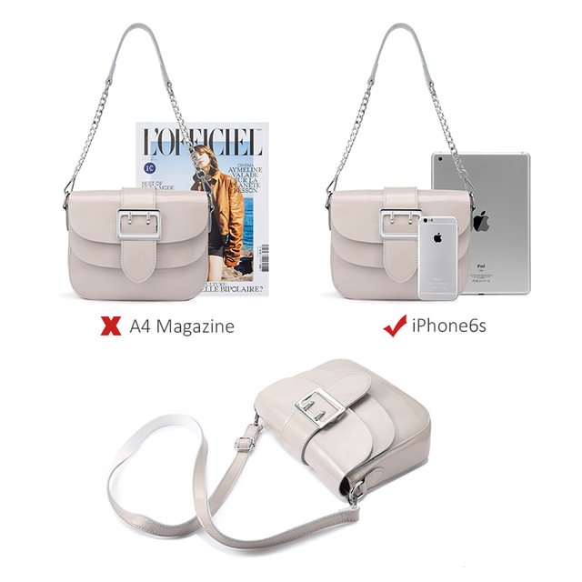 REALER brand patent leather handbags for women fashion messenger bag women high quality Chain shoulder bag female tote white