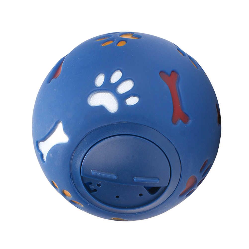 Gato perro de juguete de drenaje de la bola de comida juguetes para mascotas rompecabezas resistente a la mordedura de perro producto de entrenamiento divertido comida Bola de mascar-7,5 cm de diámetro (azul)