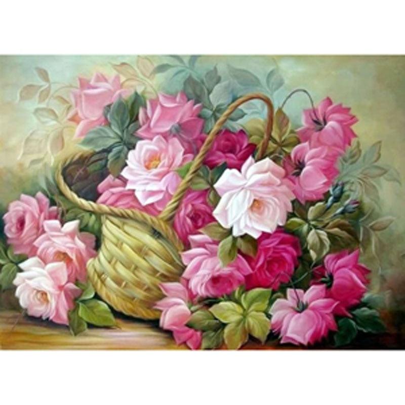 5D DIY Diamond Painting Flowers of Basket cross stitch kits diamond embroidery Lilac mosaic font b