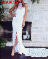 2019 White Lace Prom Dresses Sexy Sleeveless Backless Sweep Train Formal Dresses Front Split Evening Dresses Mermaid Weddings
