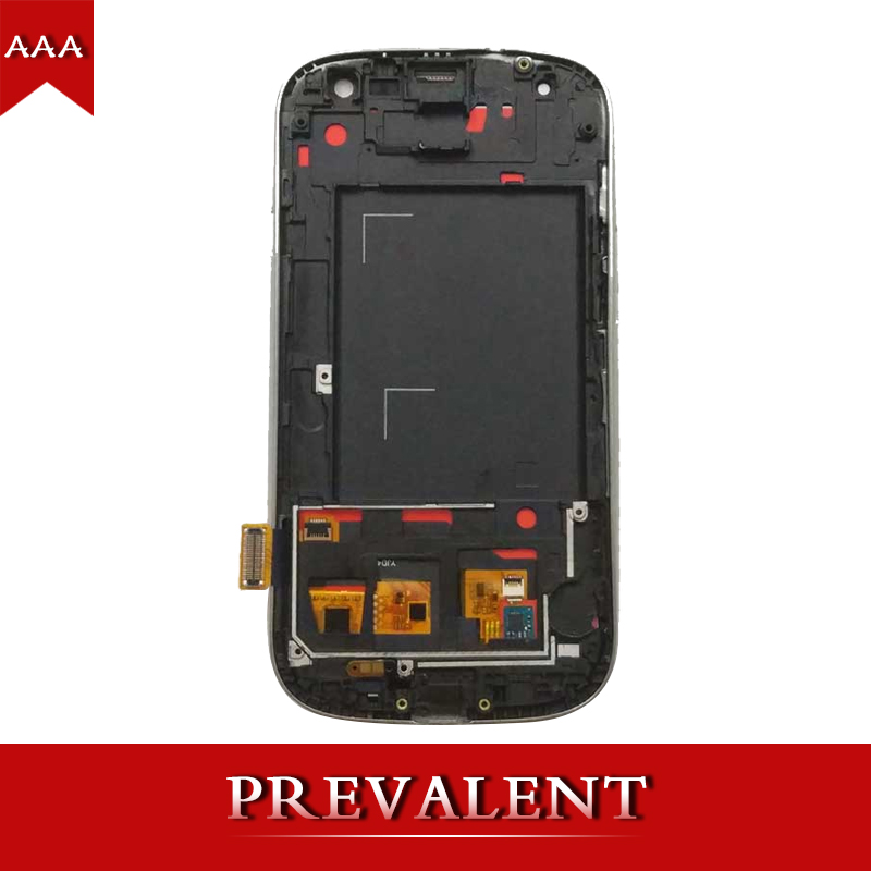 For Samsung Galaxy S III S3 i9300 i9301 i9305 i535 i747 LCD Display Module + Blue Touch Screen Digitizer Sensor Assembly + Frame