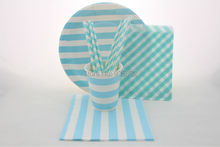 Free Shipping 256pcs Party tableware combo Blue or Pink Striped Paper straws cups plates bags napkins Party Tableware Sets