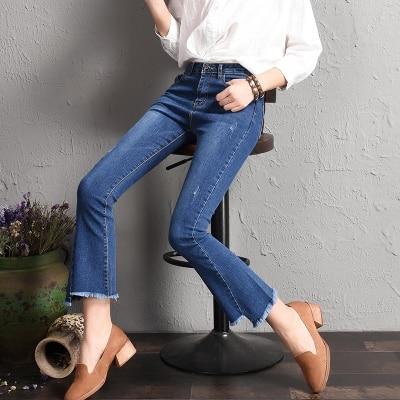 Taille Évasé Bord pu Haute Femmes Nouveau Jambes Ciel Large Irrégulière bleu Pantalon Bva Jeans marron Avec noir Beige Et XpanqqS5