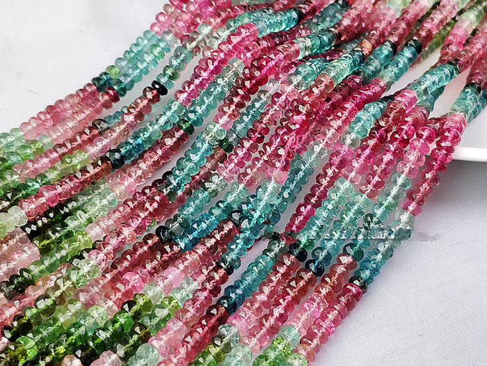 Tourmaline roundel faceted AAA multicolor 4-4.5mm 39cm for DIY jewelry making  loose beads FPPJ wholesale beads nature gem stoneTourmaline roundel faceted AAA multicolor 4-4.5mm 39cm for DIY jewelry making  loose beads FPPJ wholesale beads nature gem stone