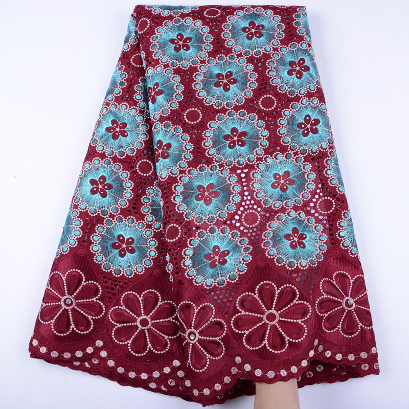 Wine Red Dry Cotton Lace High Quality African Lace Fabric Swiss Voile Lace In Switzerland For Wedding Nigerian Lace Fabric S1467