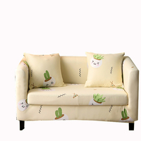 Cartoon Green Cactus Light Yellow Printed Sofa Covers 1 Piece Spandex Fabric Slipcover Universal Cover For