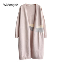 WMongKe Spring Autumn Women Knitted Sweater Coat Girls Long Cardigan V Neck Female Jacket Loose Big